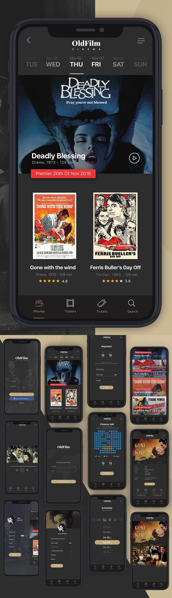 Modèles PSD d'écran d'application mobile de cinéma gratuit