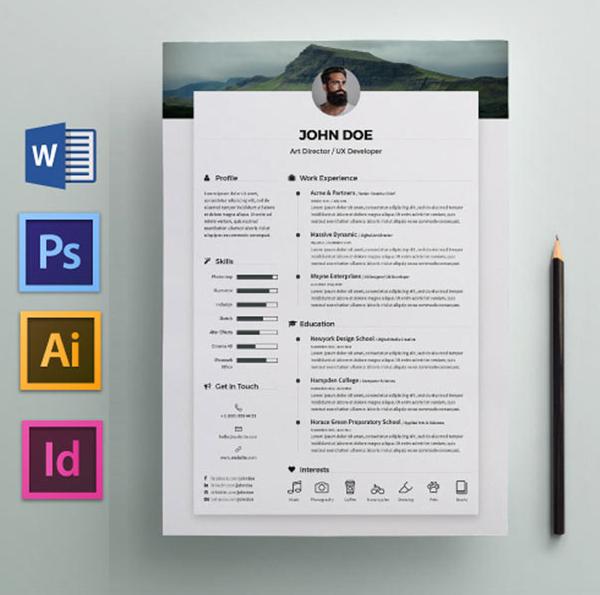 Modèle de CV gratuit avec Word et PSD