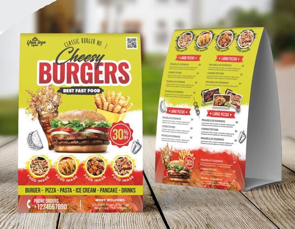 Carte de tente de table de menu de nourriture gratuite PSD