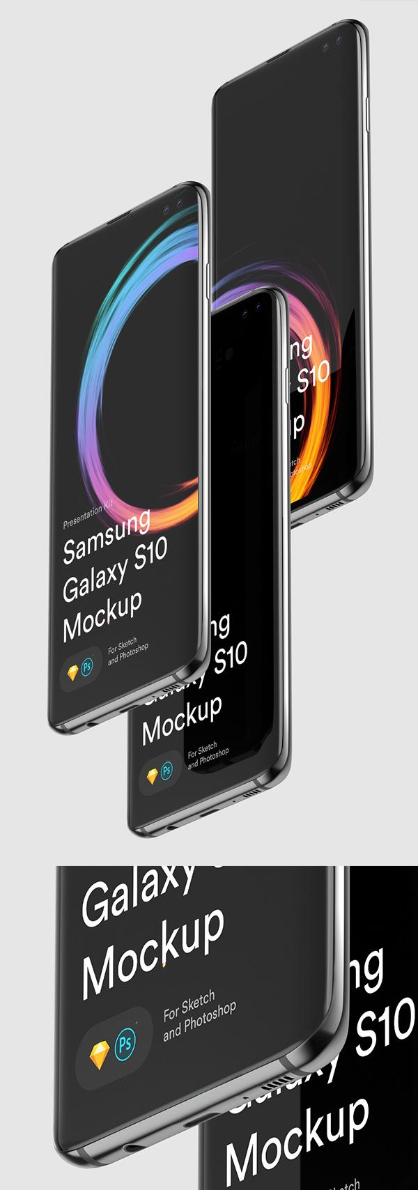 Maquettes Samsung S10 Sketch et PSD gratuites