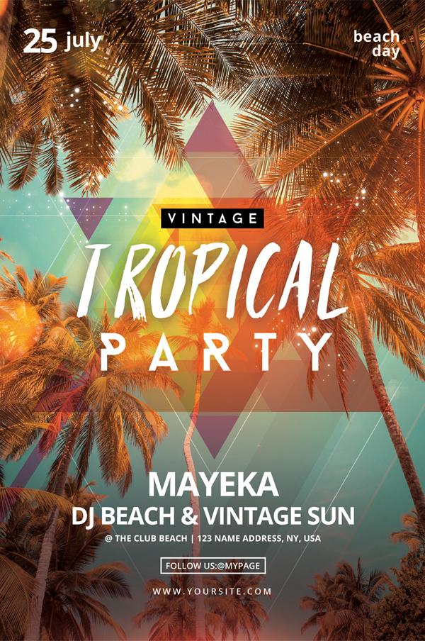 Modèle de flyer de fête tropicale vintage gratuit PSD