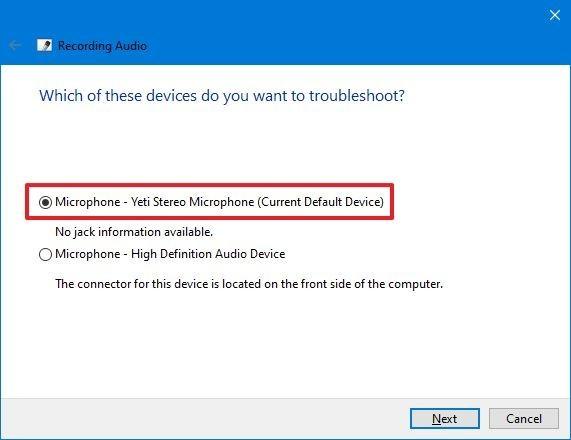Sélectionnez le microphone à réparer sur Windows 10