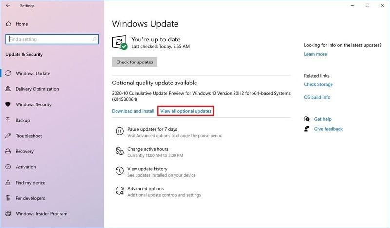 Afficher toutes les mises à jour facultatives sur Windows 10