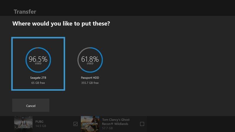 Transfert Xbox One Choisissez un lecteur