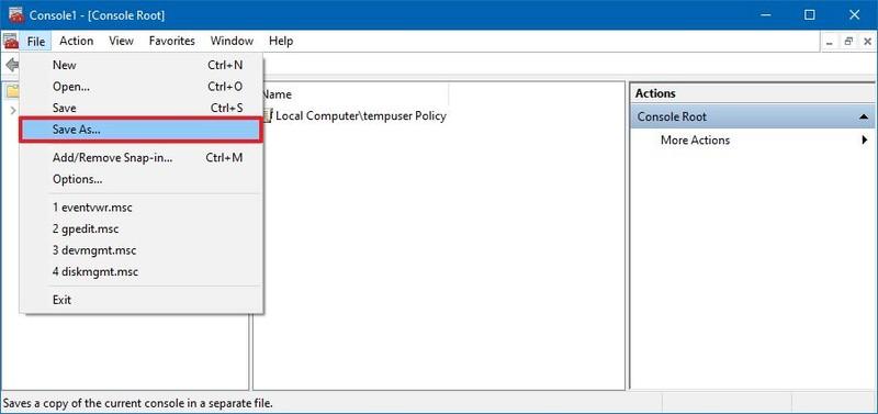 Enregistrer MMC en tant que fichier sous Windows 10