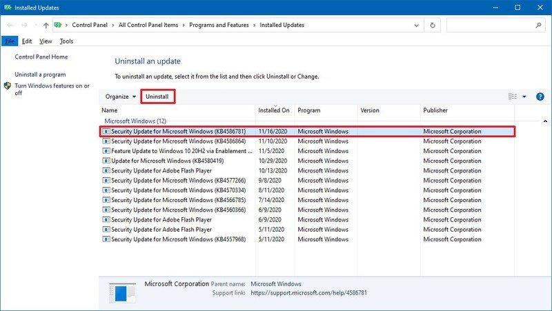 Windows 10 désinstalle KB4586781