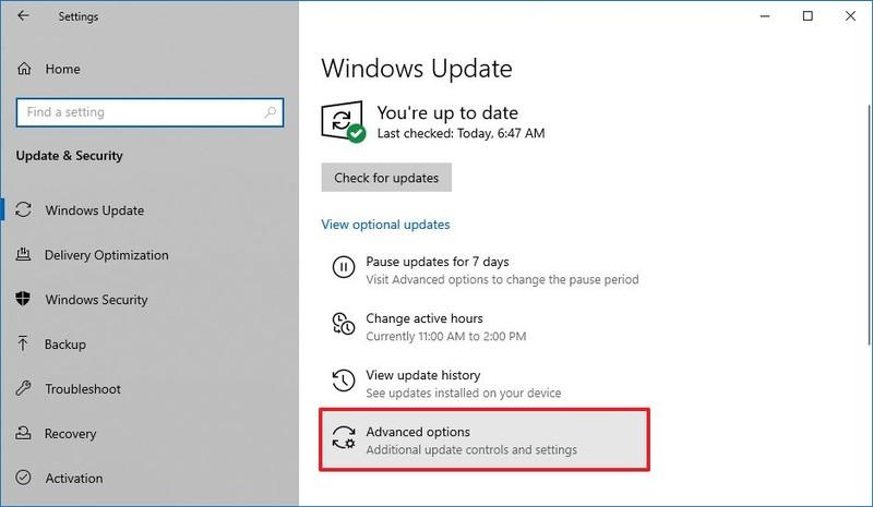 Options avancées de Windows 10