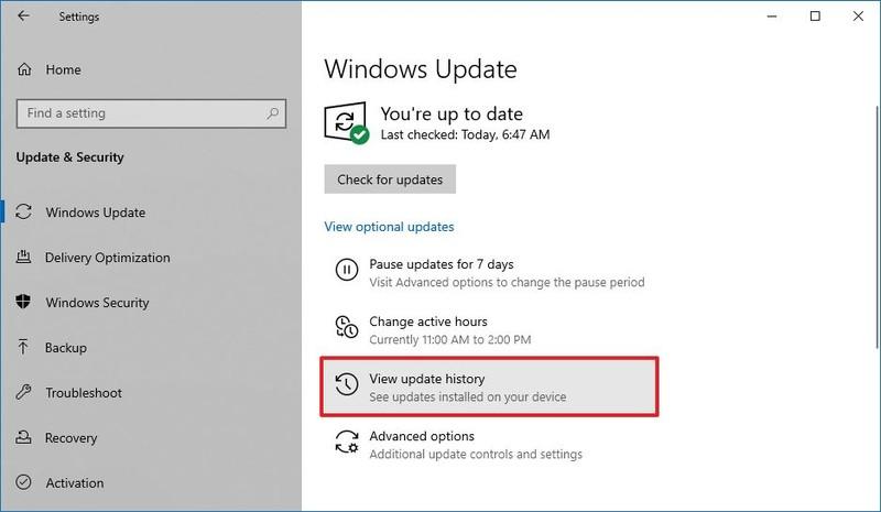 Option d'affichage de l'historique des mises à jour de Windows 10
