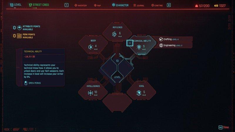 Détails des capacités techniques des attributs Cyberpunk 2077