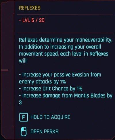Cyberpunk 2077 Attributs Réflexes Détails