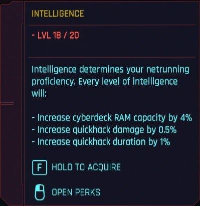 Détails de l'intelligence des attributs du Cyberpunk 2077