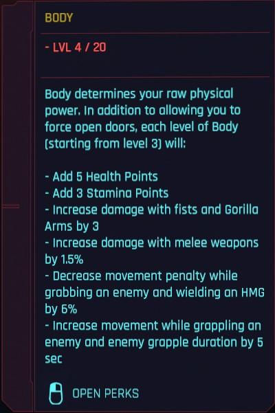 Détails du corps des attributs Cyberpunk 2077
