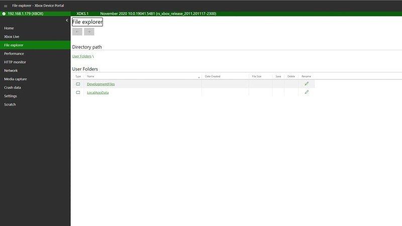 Explorateur de fichiers du portail des appareils Xbox