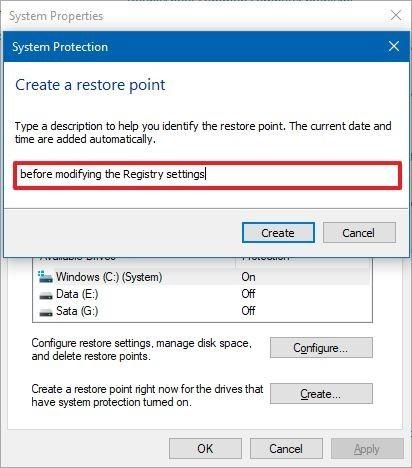 Windows 10 crée des paramètres de point de restauration