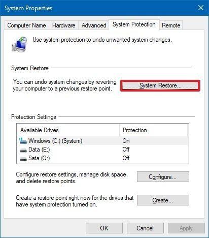 Windows 10 démarrer la restauration du système