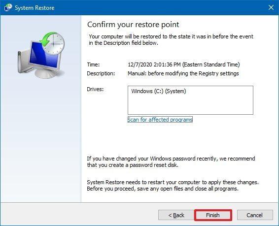 Restauration complète du système Windows 10