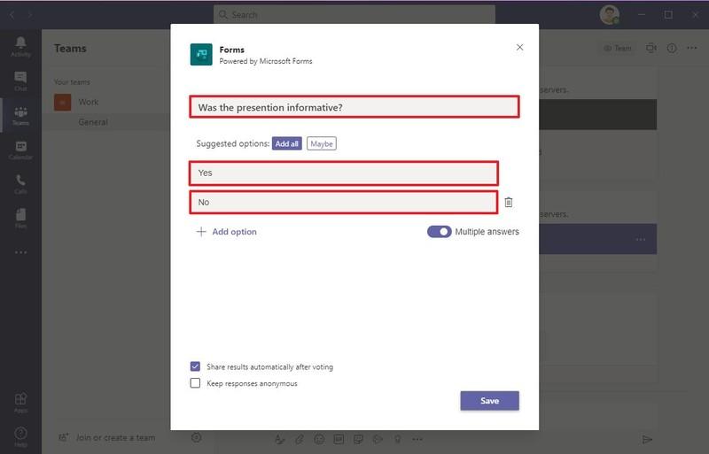 Option de création de sondage Microsoft Teams
