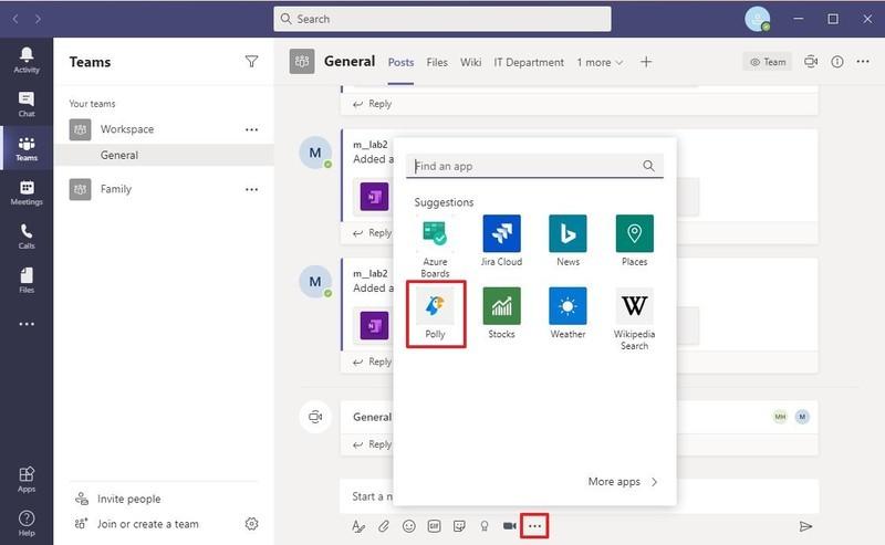 Extension de sondage Polly pour Microsoft Teams