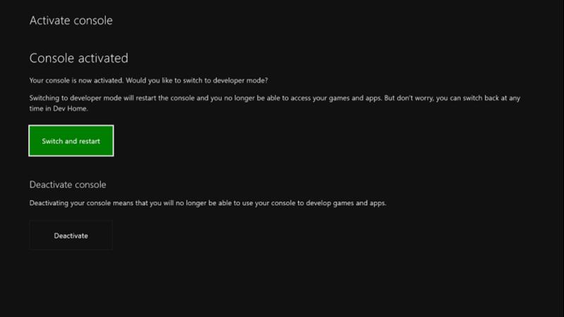 Mode de développement Xbox activé
