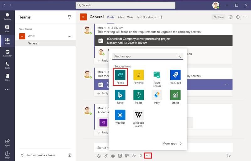 Bouton d'extensions de messagerie Microsoft Teams