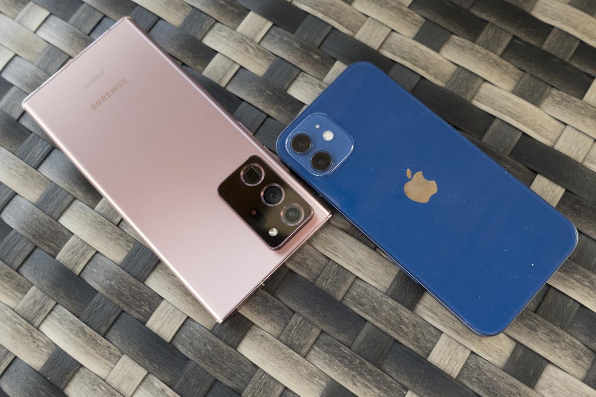 iphone note 20 bleu bronze