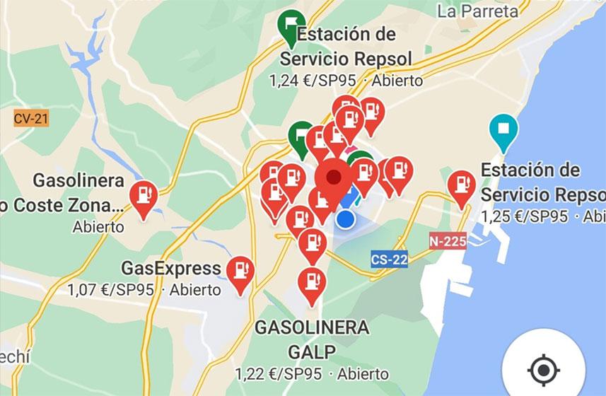 Google Maps - Stations d'essence