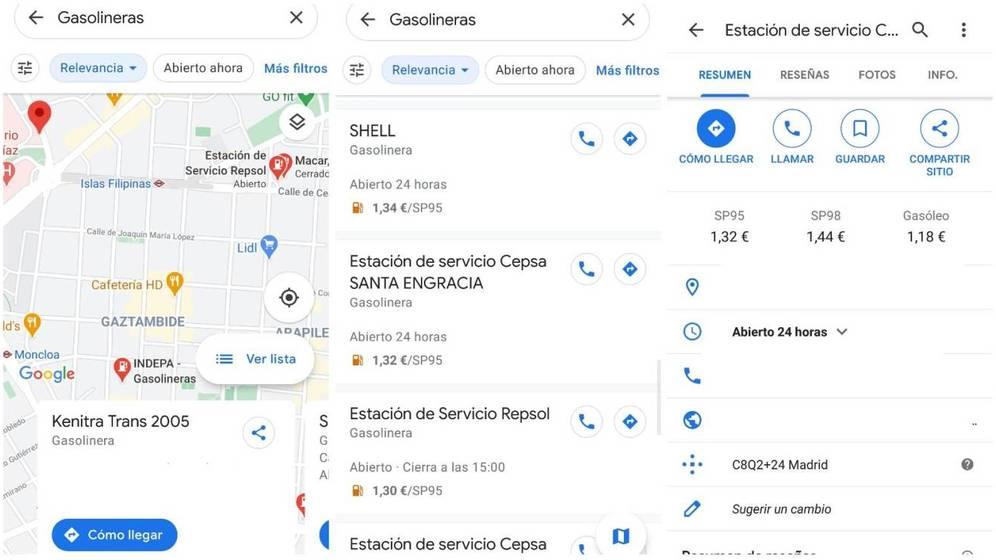 Vérifiez le prix de l'essence sur Google Maps