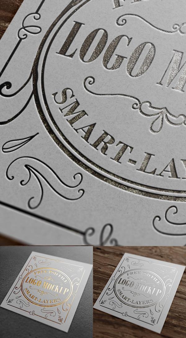 Maquette gratuite de logo d'estampage or et argent