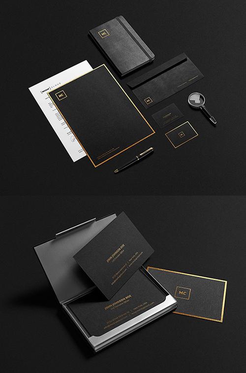 Maquette de papeterie noire et or PSD