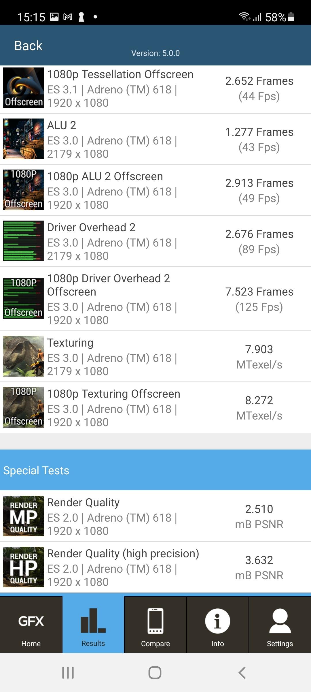 Résultat dans GFXBencjh avec Galaxy A72