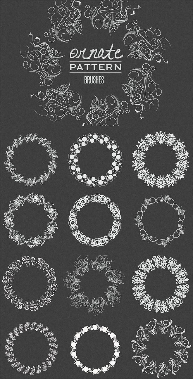 Brosses à motifs vectoriels ornés
