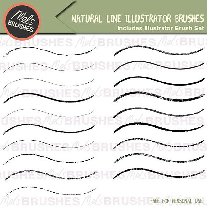 Pinceaux d'illustrateur de lignes naturelles gratuites