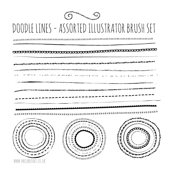 Ensemble de pinceaux de lignes de griffonnage de croquis naturel