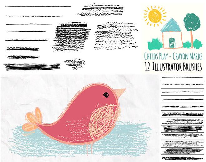 Ensemble de pinceaux Illustrator Crayons Play pour enfants